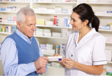 pharmacist gives the medicine to her customer
